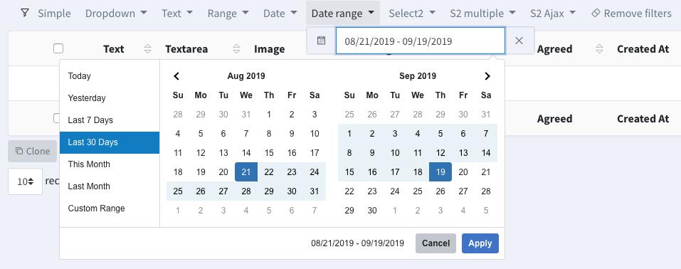 Backpack CRUD Date Range Filter