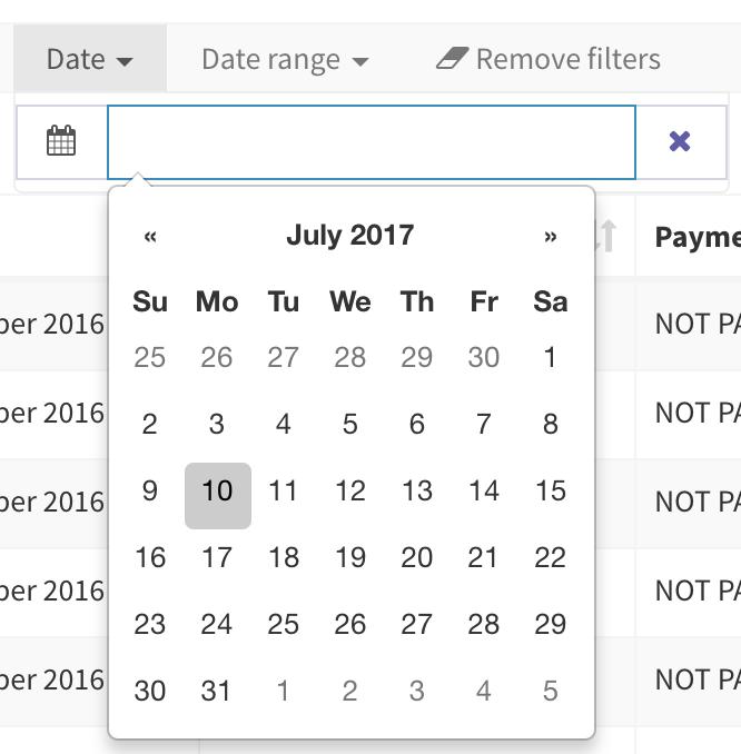 Backpack CRUD Date Filter