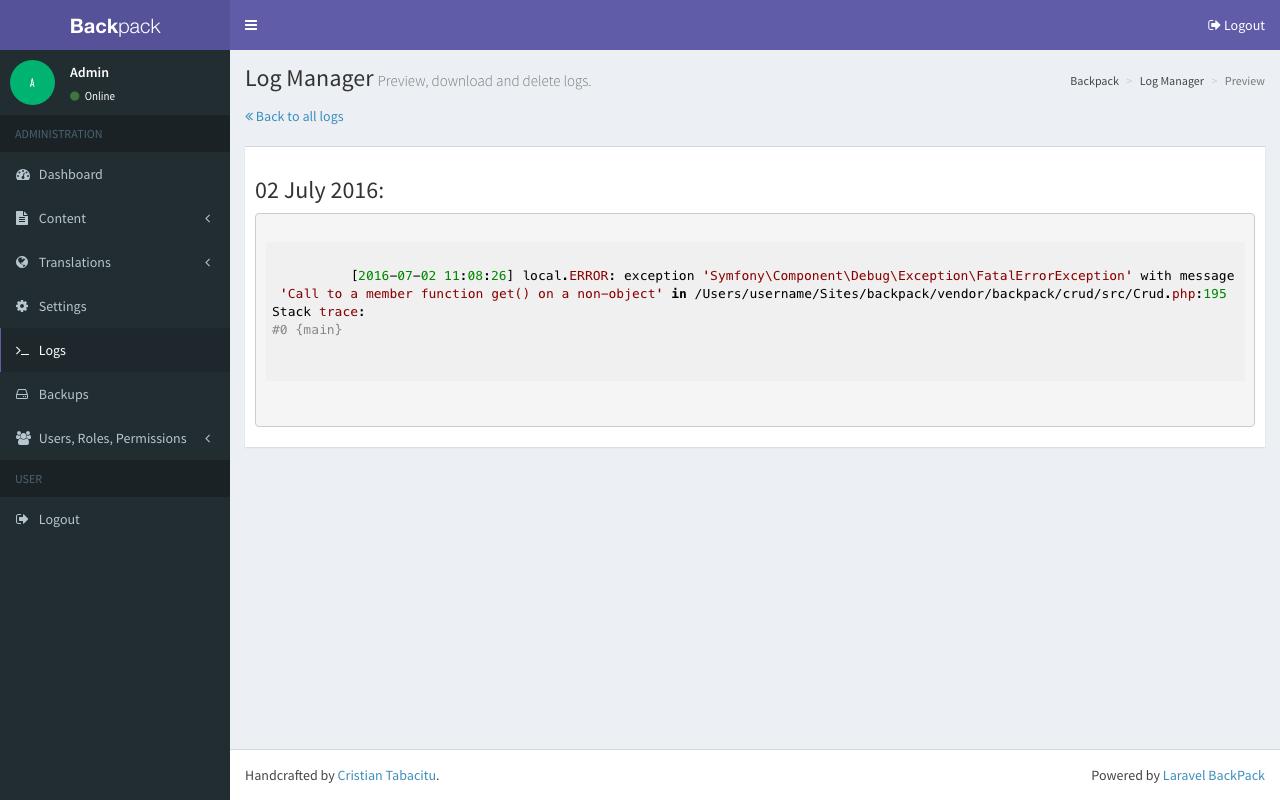 Build Laravel Admin Panels - Fast :: Backpack for Laravel